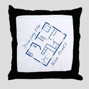 The Blue Prints Throw Pillow