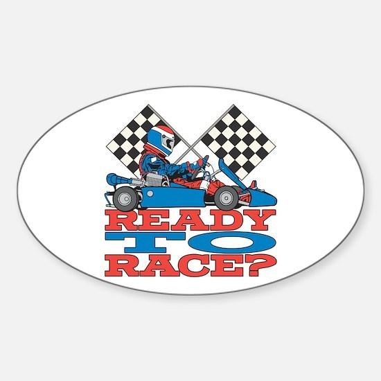 Ready to Race Go Kart Sticker (Oval)