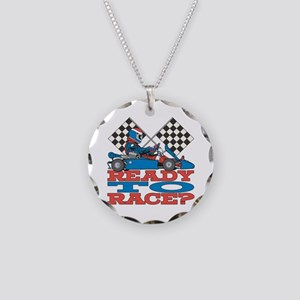 Ready to Race Go Kart Necklace Circle Charm
