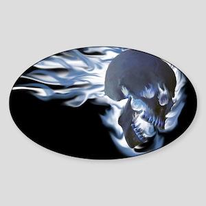 Blue Flaming Skull Sticker