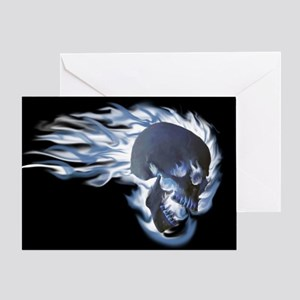 Blue Flaming Skull Greeting Cards