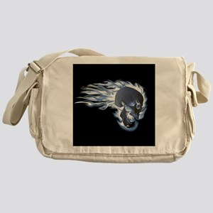 Blue Flaming Skull Messenger Bag
