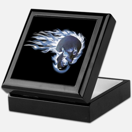 Blue Flaming Skull Keepsake Box