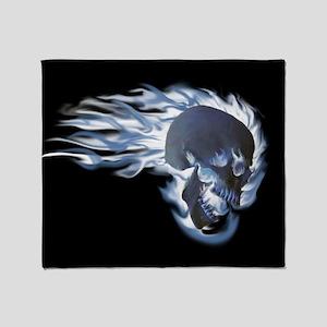 Blue Flaming Skull Throw Blanket