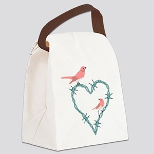 Barbed Wire Heart Birds Canvas Lunch Bag