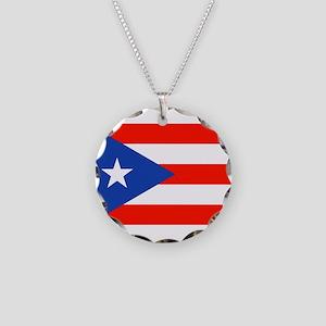 Puerto Rican Boricua Flag Ba Necklace Circle Charm