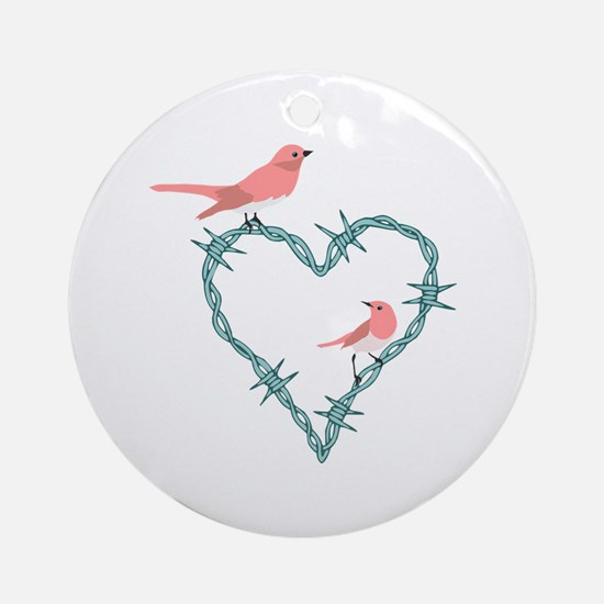 Barbed Wire Heart Birds Ornament (Round)