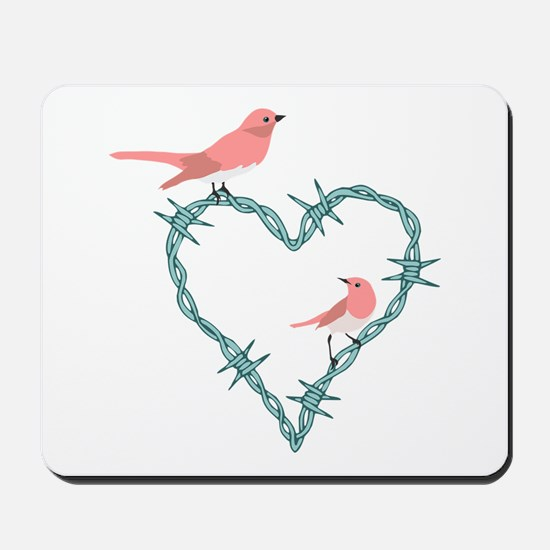 Barbed Wire Heart Birds Mousepad