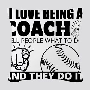 Baseball Coach Humor Woven Throw Pillow