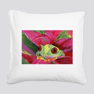 Ruby the Red Eyed Tree Frog Square Canvas Pillow