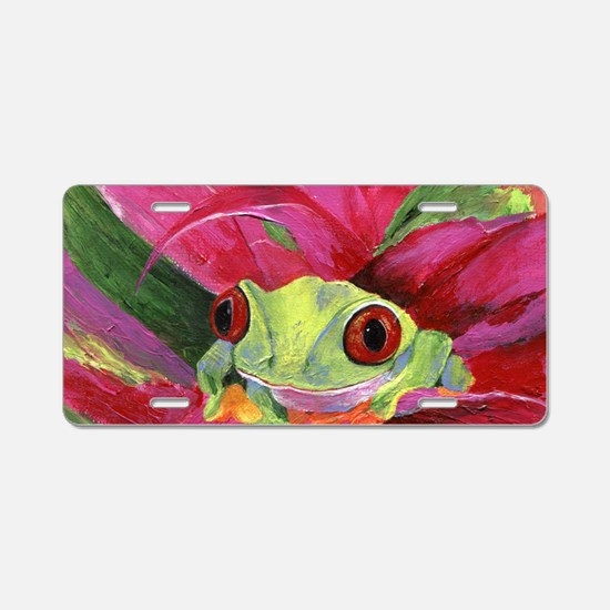 Ruby Tree Frog Aluminum License Plate