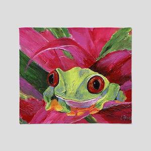 Ruby Tree Frog Throw Blanket