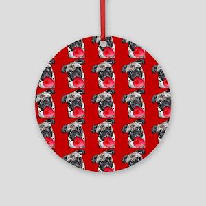Valentine's Pug dog Ornament (Round)
