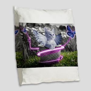angel cat Burlap Throw Pillow