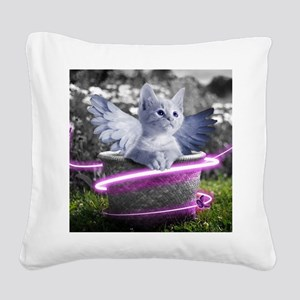 angel cat Square Canvas Pillow