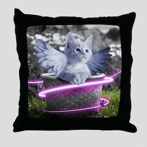 angel cat Throw Pillow
