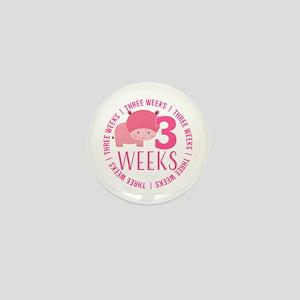 Cute Hippo 3 Weeks Old Mini Button