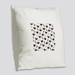 Je t'aime My Frenchie Burlap Throw Pillow