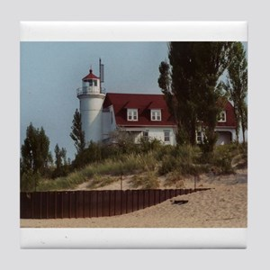 Pointe Betsie Lighthouse Tile Coaster