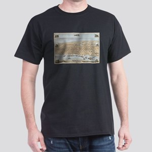 Vintage Pictorial Map of Galveston (1871) T-Shirt