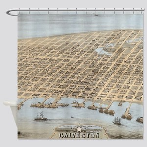Vintage Pictorial Map of Galveston Shower Curtain
