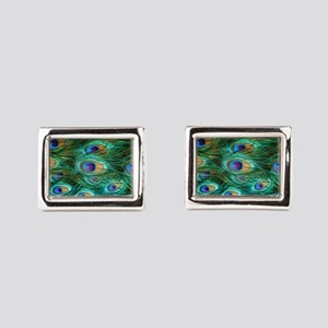 Peacock Feathers Rectangular Cufflinks