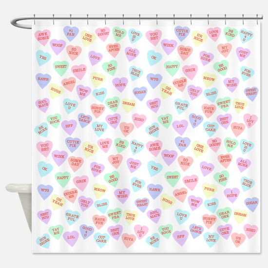 Candy Hearts Shower Curtain