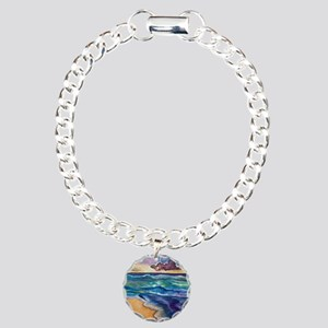 Beach Sunset Watercolor  Charm Bracelet, One Charm