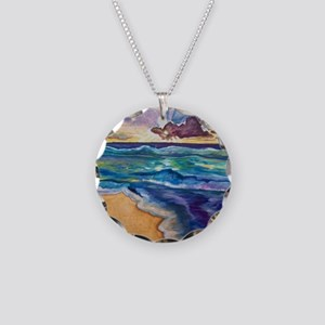 Beach Sunset Watercolor  Necklace Circle Charm