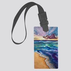 Beach Sunset Watercolor  Large Luggage Tag