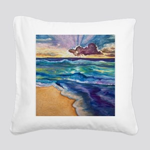 Beach Sunset Watercolor  Square Canvas Pillow