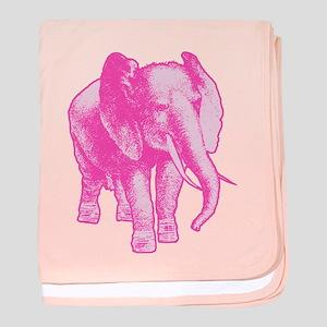 Pink Elephant Illustration baby blanket