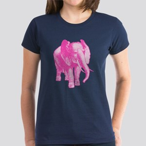 Pink Elephant Illustration Women's Dark T-Shirt