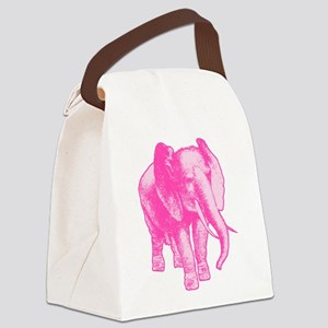 Pink Elephant Illustration Canvas Lunch Bag