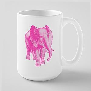 Pink Elephant Illustration Large Mug