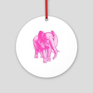 Pink Elephant Illustration Ornament (Round)