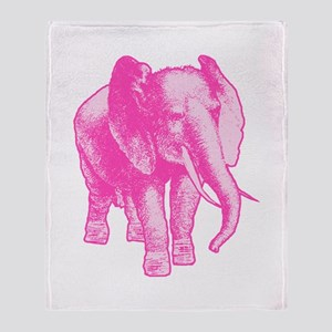 Pink Elephant Illustration Throw Blanket