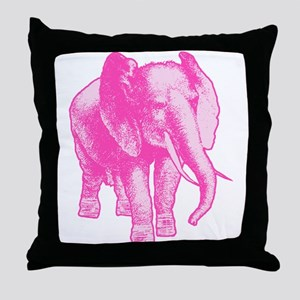 Pink Elephant Illustration Throw Pillow