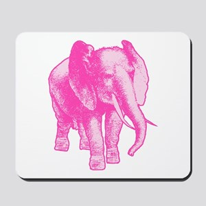 Pink Elephant Illustration Mousepad