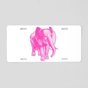 Pink Elephant Illustration Aluminum License Plate