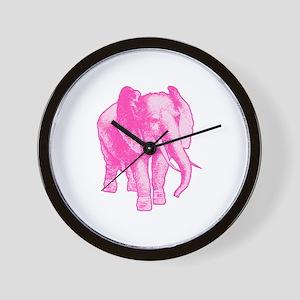Pink Elephant Illustration Wall Clock