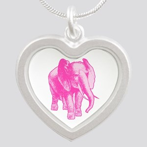 Pink Elephant Illustration Silver Heart Necklace
