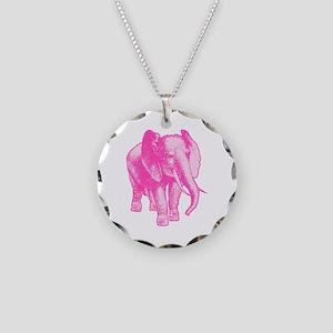 Pink Elephant Illustration Necklace Circle Charm