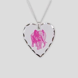 Pink Elephant Illustration Necklace Heart Charm