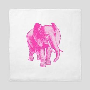 Pink Elephant Illustration Queen Duvet