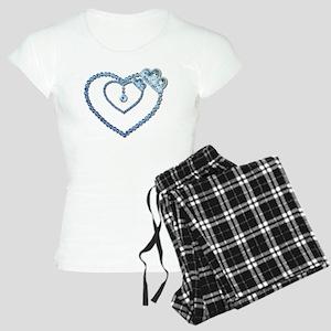 Bling Blue Princess Heart Women's Light Pajamas