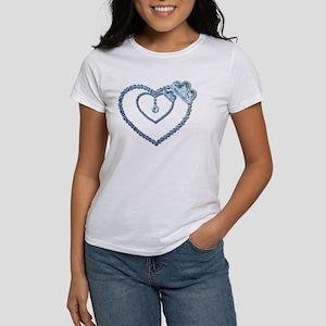 Bling Blue Princess Heart Women's T-Shirt