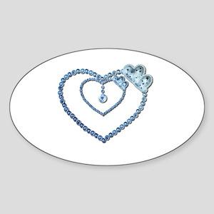 Bling Blue Princess Heart Sticker (Oval)