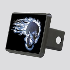 Blue Flaming Skull Rectangular Hitch Cover