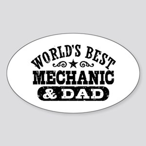 World's Best Mechanic and Dad Sticker (Oval)
